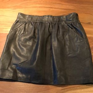 Hotel Particulier Forest Green Leather Skirt